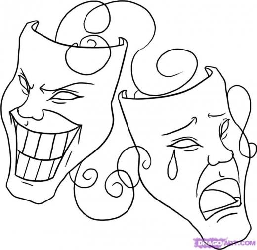 Как нарисовать театральную маску карандашом поэтапно