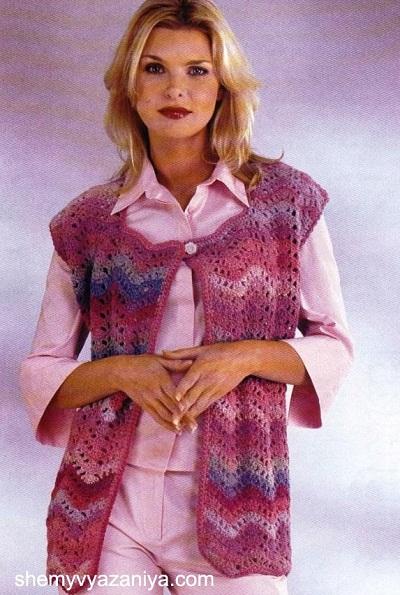 Вязание на спицах меланжевый жилет
